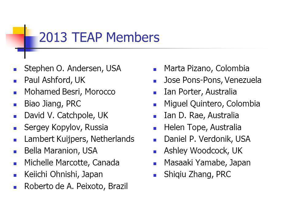 2013 TEAP Members Stephen O. Andersen, USA Paul Ashford, UK Mohamed Besri, Morocco Biao Jiang, PRC David V. Catchpole, UK Sergey Kopylov, Russia Lambe