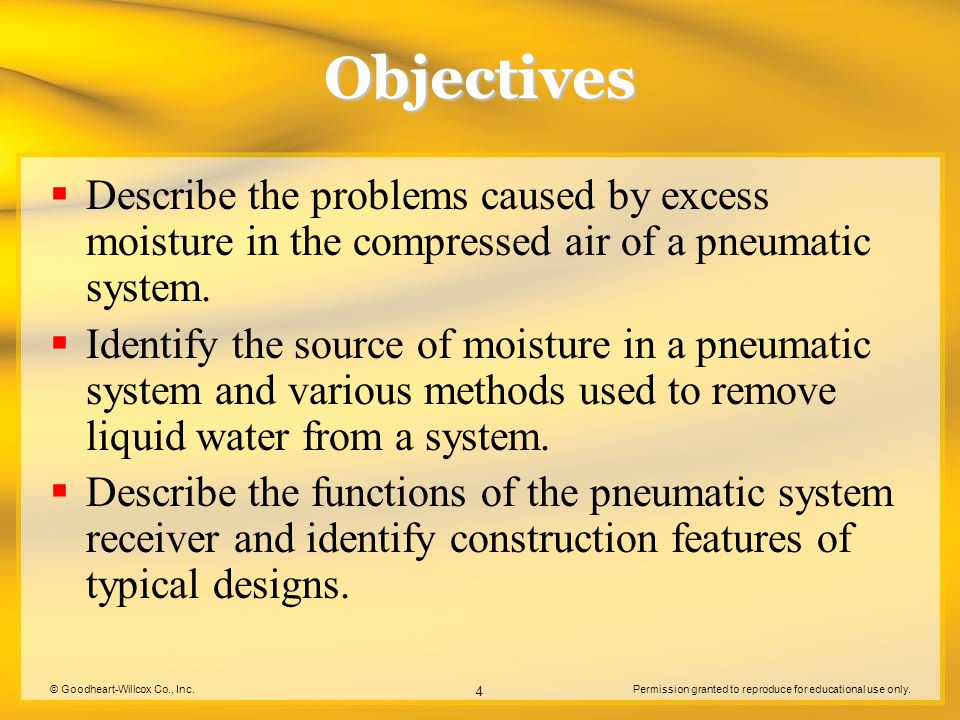© Goodheart-Willcox Co., Inc.Permission granted to reproduce for educational use only. 4 Objectives Describe the problems caused by excess moisture in