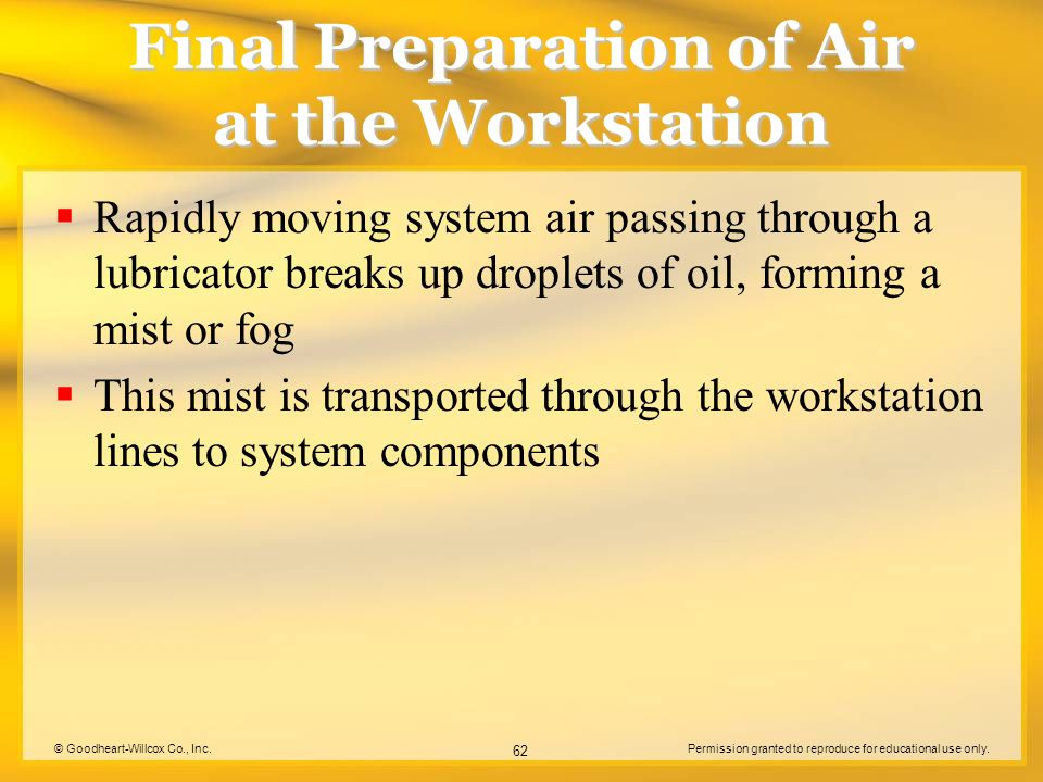 © Goodheart-Willcox Co., Inc.Permission granted to reproduce for educational use only. 62 Final Preparation of Air at the Workstation Rapidly moving s