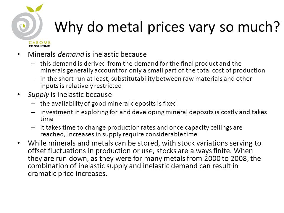 Why do metal prices vary so much? Minerals demand is inelastic because – this demand is derived from the demand for the final product and the minerals