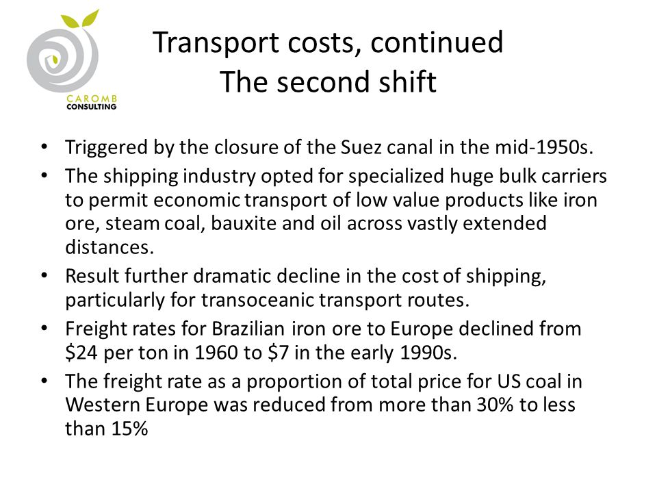 Transport costs, continued The second shift Triggered by the closure of the Suez canal in the mid-1950s. The shipping industry opted for specialized h