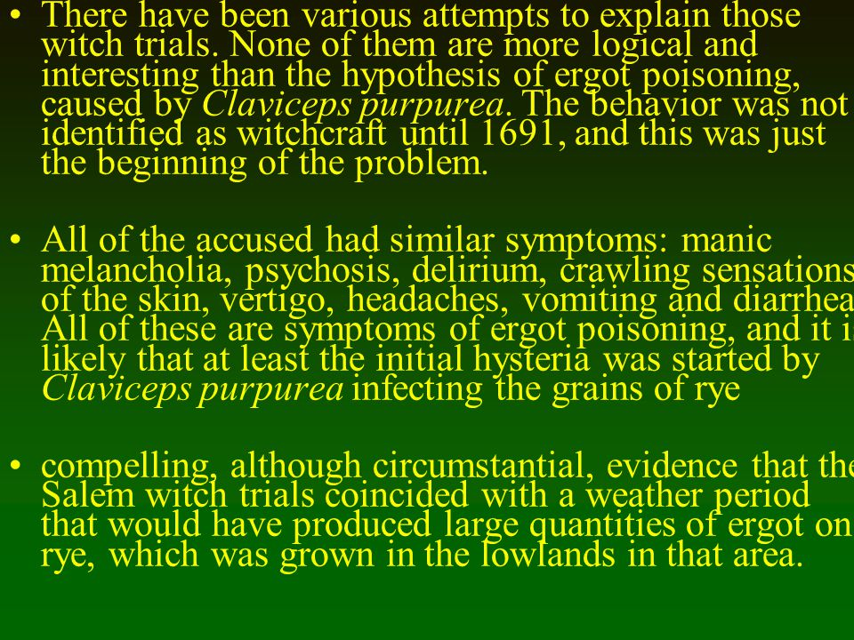 There have been various attempts to explain those witch trials. None of them are more logical and interesting than the hypothesis of ergot poisoning,