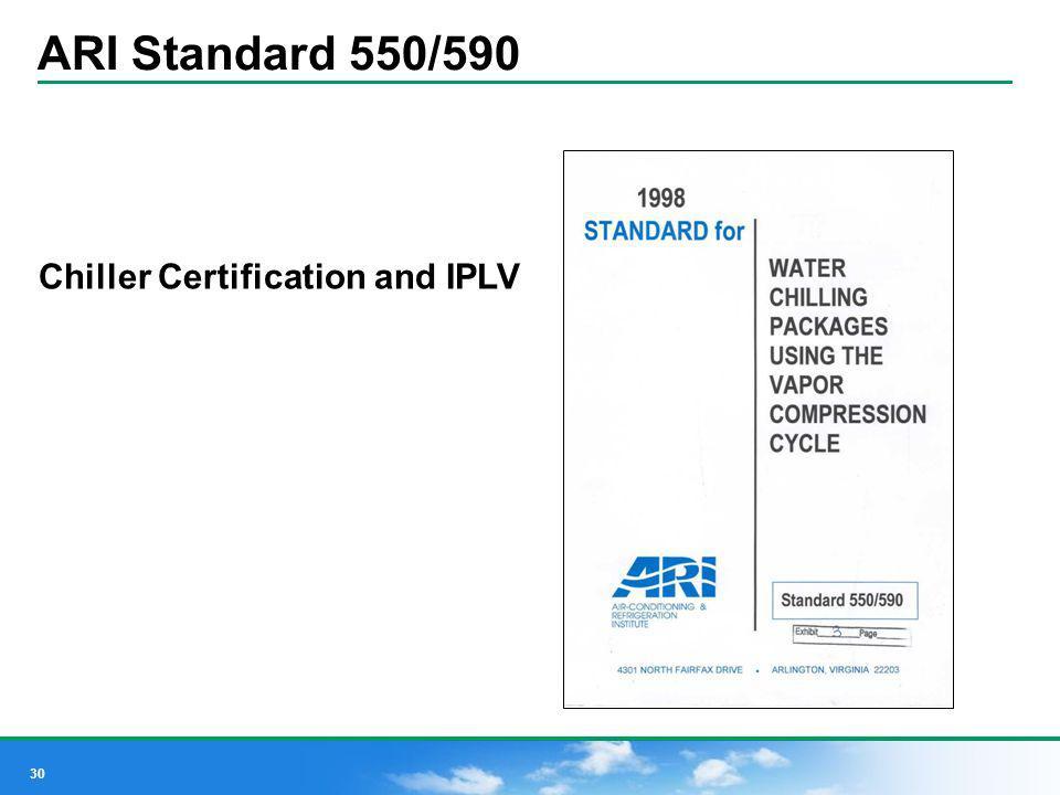 30 ARI Standard 550/590 Chiller Certification and IPLV