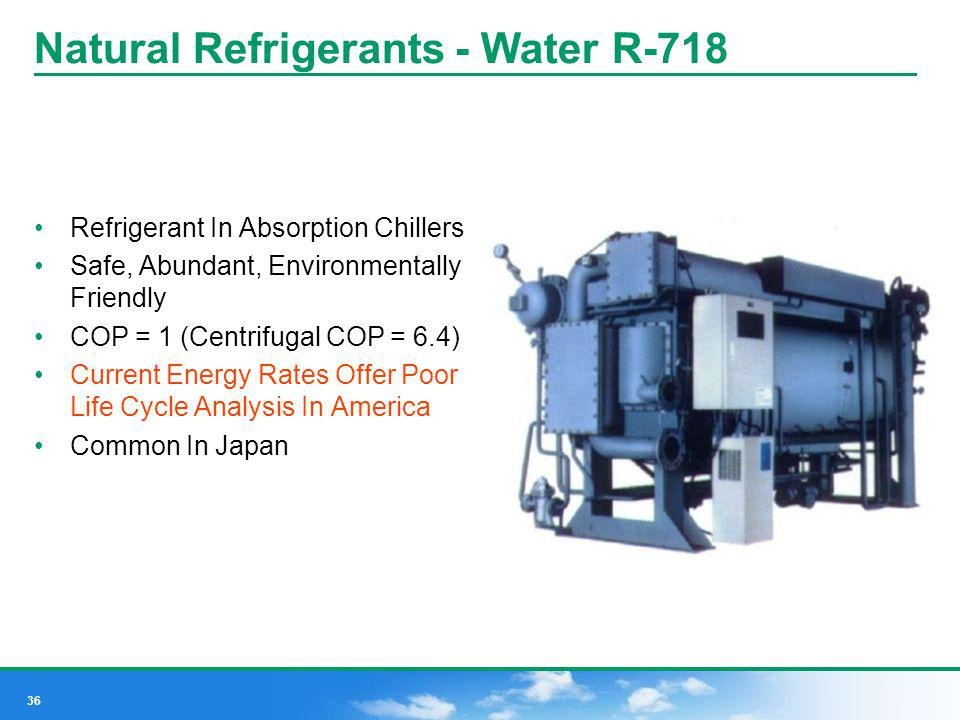 36 Natural Refrigerants - Water R-718 Refrigerant In Absorption Chillers Safe, Abundant, Environmentally Friendly COP = 1 (Centrifugal COP = 6.4) Curr
