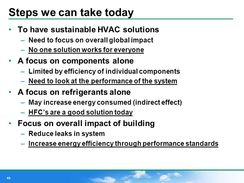 44 Steps we can take today To have sustainable HVAC solutions –Need to focus on overall global impact –No one solution works for everyone A focus on c