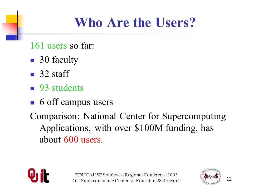 EDUCAUSE Southwest Regional Conference 2003 OU Supercomputing Center for Education & Research 12 Who Are the Users.