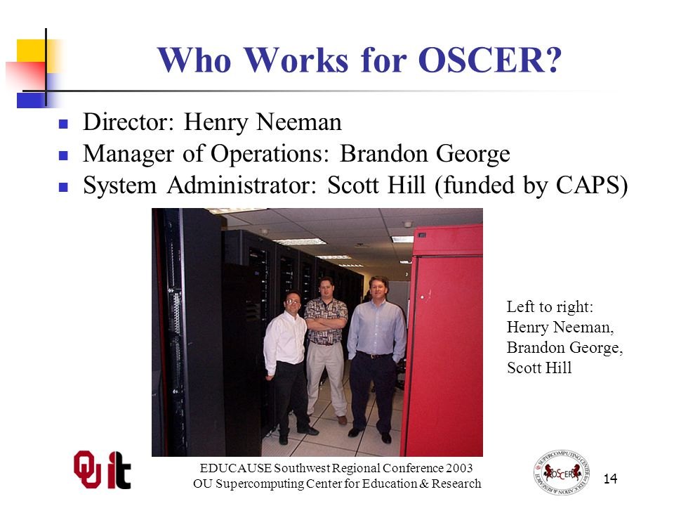 EDUCAUSE Southwest Regional Conference 2003 OU Supercomputing Center for Education & Research 14 Who Works for OSCER.