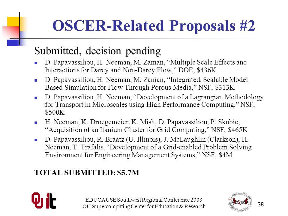 EDUCAUSE Southwest Regional Conference 2003 OU Supercomputing Center for Education & Research 38 OSCER-Related Proposals #2 Submitted, decision pending D.