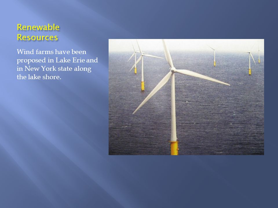 Renewable Resources Wind farms have been proposed in Lake Erie and in New York state along the lake shore.