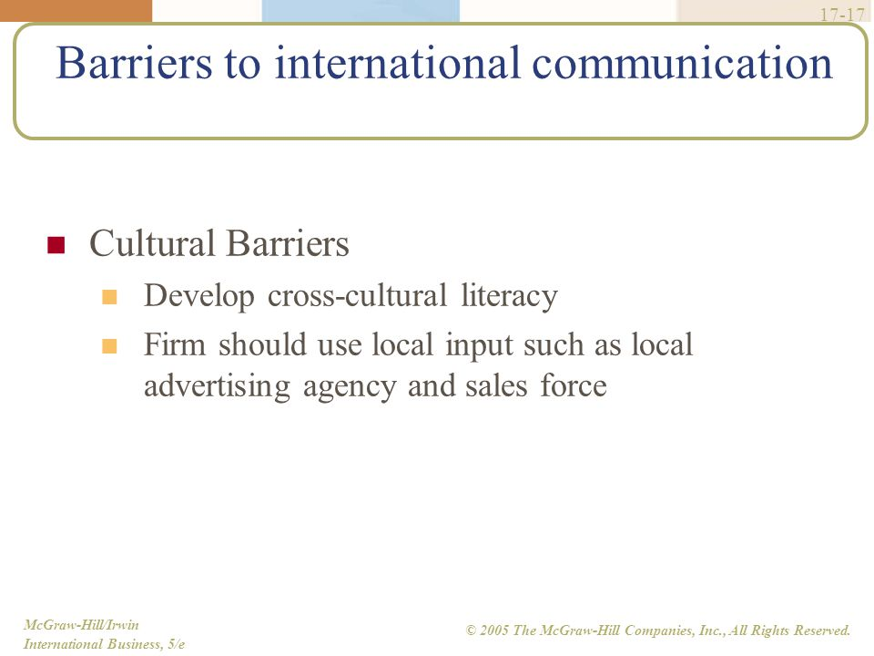 McGraw-Hill/Irwin International Business, 5/e © 2005 The McGraw-Hill Companies, Inc., All Rights Reserved. 17-17 Barriers to international communicati