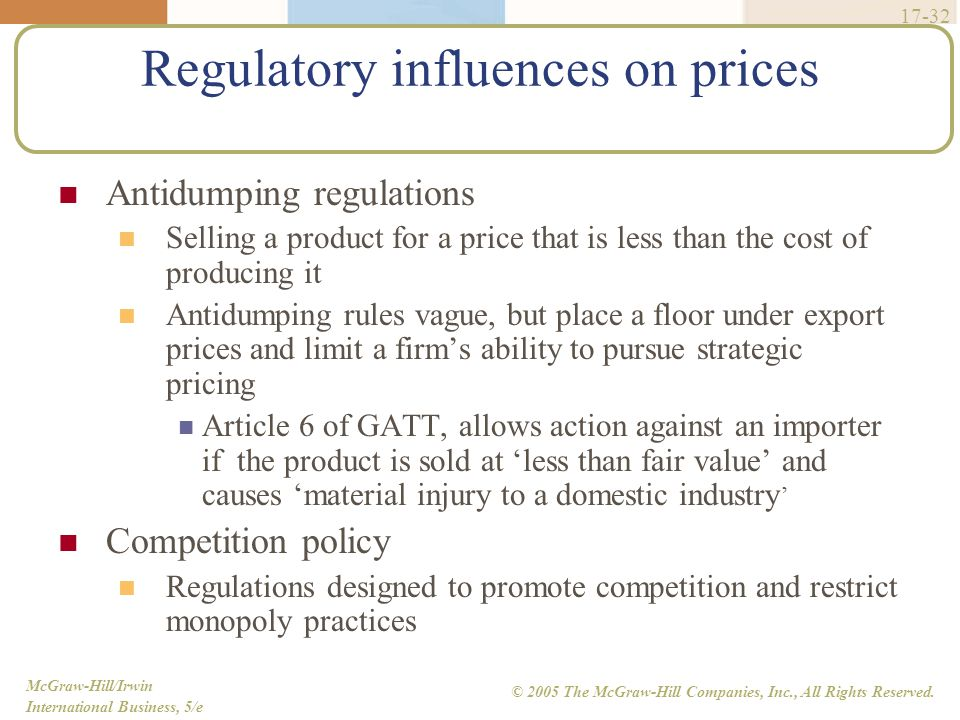 McGraw-Hill/Irwin International Business, 5/e © 2005 The McGraw-Hill Companies, Inc., All Rights Reserved. 17-32 Regulatory influences on prices Antid