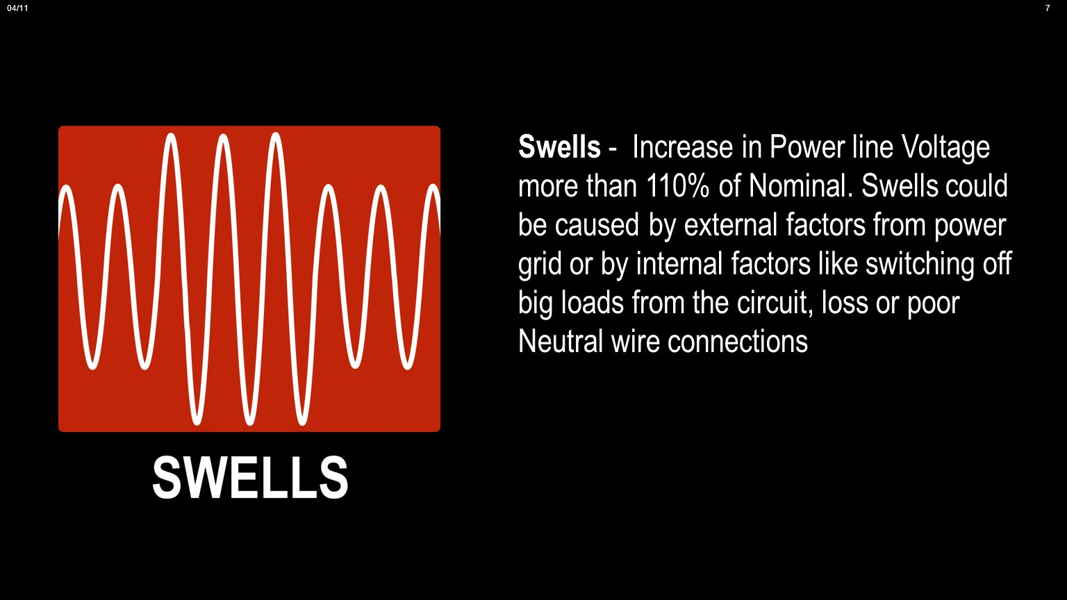 Swells - Increase in Power line Voltage more than 110% of Nominal.