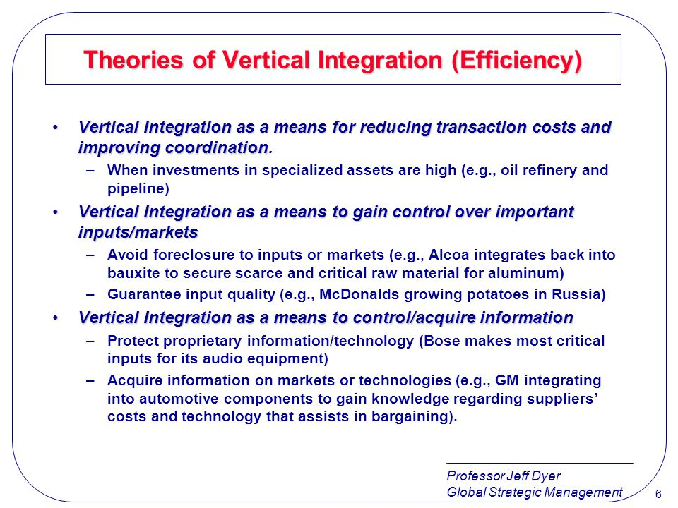 Professor Jeff Dyer Global Strategic Management 7 Theories of Vertical Integration (Non-Efficiency) Vertically Integrate to exercise monopoly powerVertically Integrate to exercise monopoly power –Price discrimination (to allow firm to price discriminate in different markets and avoid arbitrage).