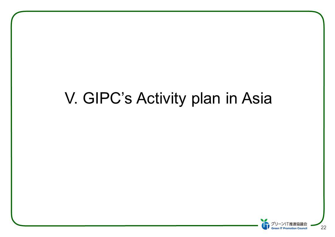 22 V. GIPCs Activity plan in Asia