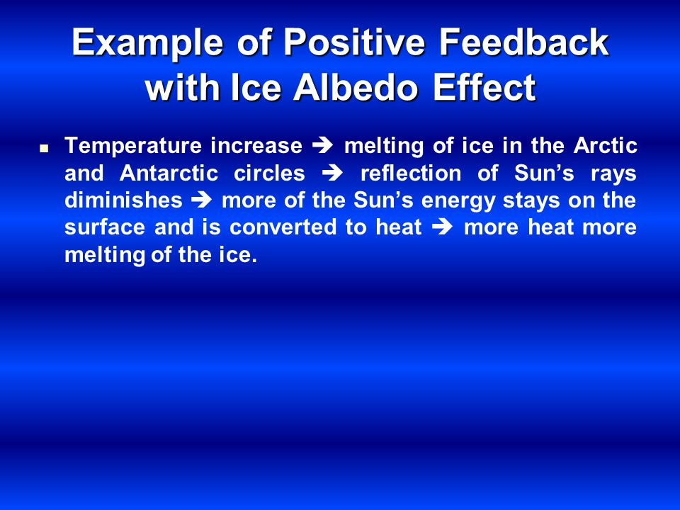 Example of Positive Feedback with Ice Albedo Effect Temperature increase melting of ice in the Arctic and Antarctic circles reflection of Suns rays di