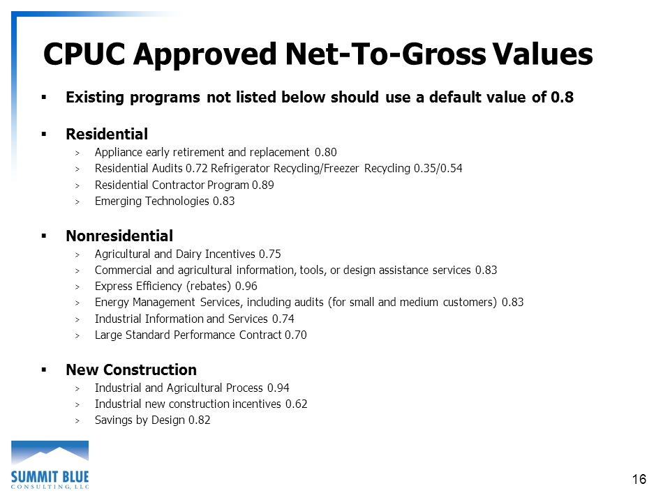 16 CPUC Approved Net-To-Gross Values Existing programs not listed below should use a default value of 0.8 Residential > Appliance early retirement and replacement 0.80 > Residential Audits 0.72 Refrigerator Recycling/Freezer Recycling 0.35/0.54 > Residential Contractor Program 0.89 > Emerging Technologies 0.83 Nonresidential > Agricultural and Dairy Incentives 0.75 > Commercial and agricultural information, tools, or design assistance services 0.83 > Express Efficiency (rebates) 0.96 > Energy Management Services, including audits (for small and medium customers) 0.83 > Industrial Information and Services 0.74 > Large Standard Performance Contract 0.70 New Construction > Industrial and Agricultural Process 0.94 > Industrial new construction incentives 0.62 > Savings by Design 0.82