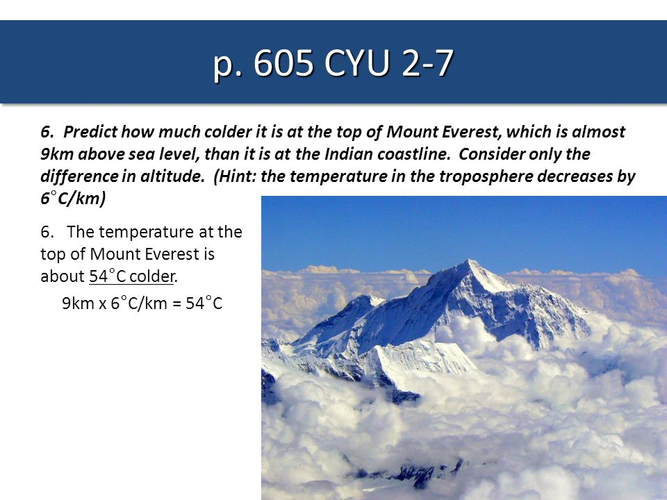 6. Predict how much colder it is at the top of Mount Everest, which is almost 9km above sea level, than it is at the Indian coastline. Consider only t