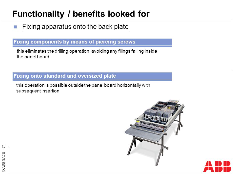© ABB SACE - 27 Functionality / benefits looked for Fixing apparatus onto the back plate this eliminates the drilling operation, avoiding any filings