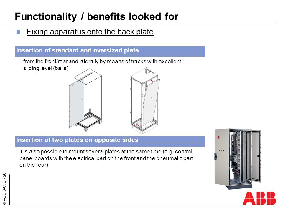 © ABB SACE - 28 Functionality / benefits looked for Fixing apparatus onto the back plate from the front/rear and laterally by means of tracks with exc