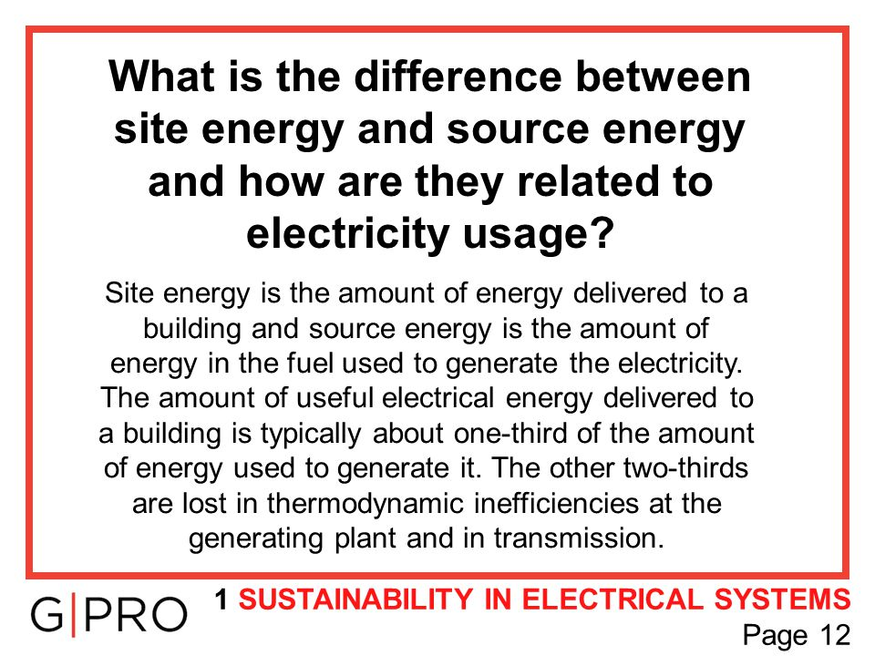 What is the difference between site energy and source energy and how are they related to electricity usage? Site energy is the amount of energy delive