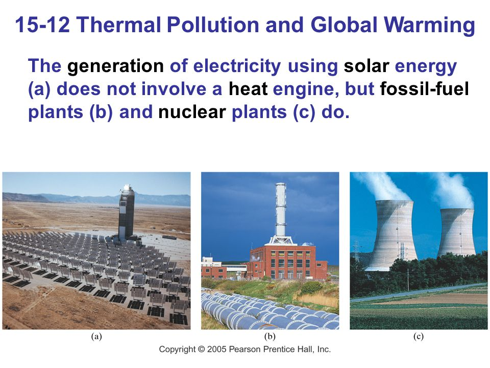 15-12 Thermal Pollution and Global Warming The generation of electricity using solar energy (a) does not involve a heat engine, but fossil-fuel plants