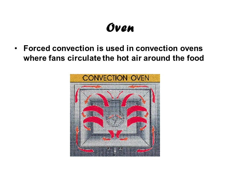 Oven Forced convection is used in convection ovens where fans circulate the hot air around the food