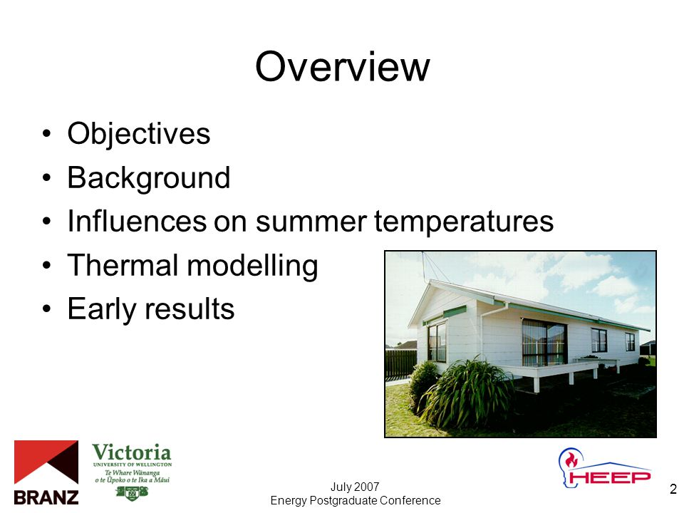 July 2007 Energy Postgraduate Conference 2 Overview Objectives Background Influences on summer temperatures Thermal modelling Early results