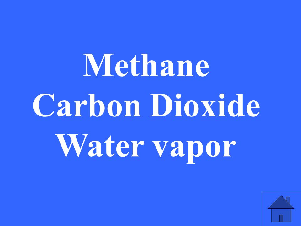 Methane Carbon Dioxide Water vapor