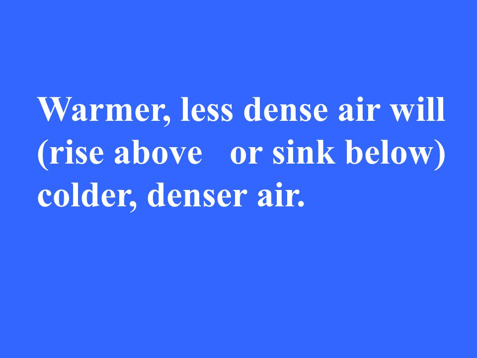 Warmer, less dense air will (rise above or sink below) colder, denser air.