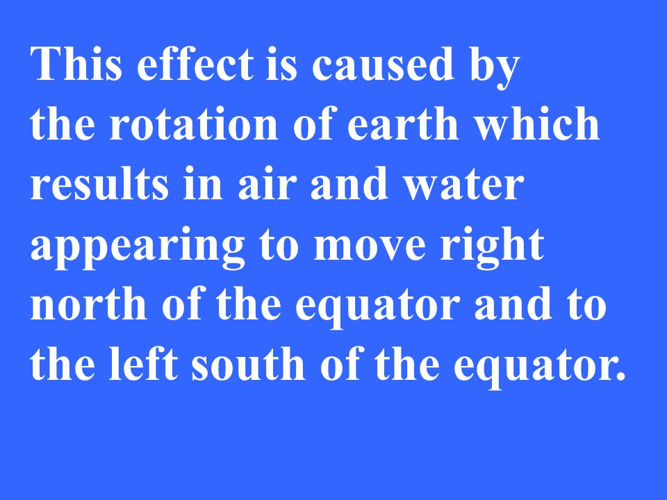 This effect is caused by the rotation of earth which results in air and water appearing to move right north of the equator and to the left south of th