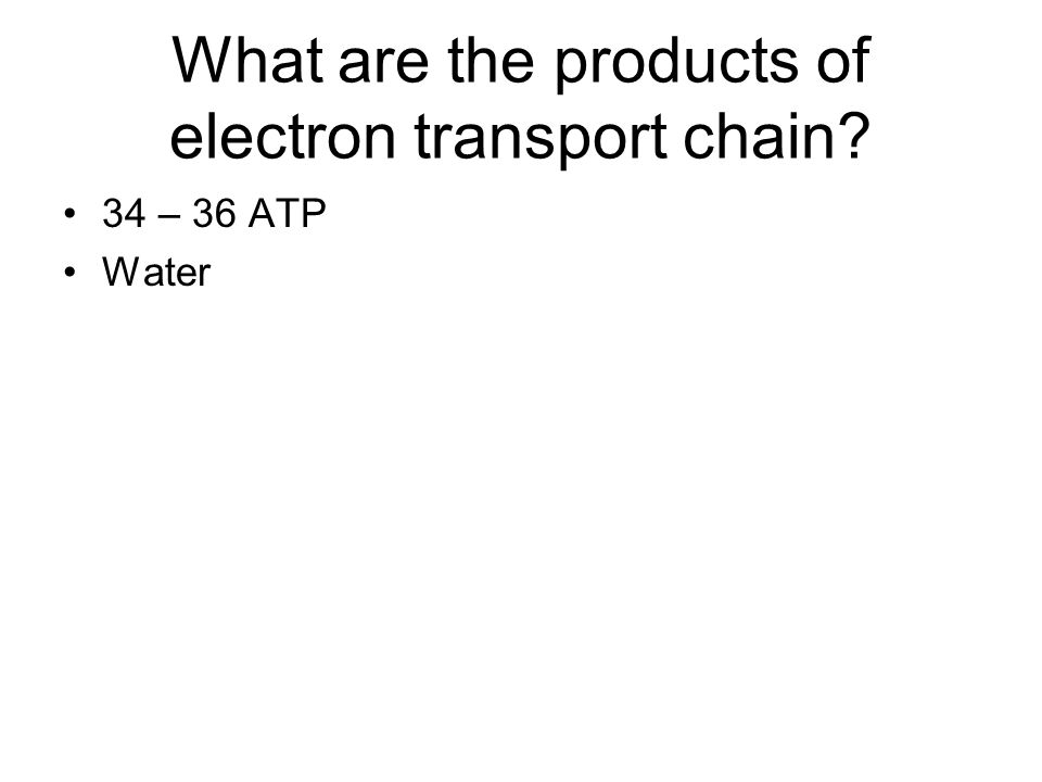 What are the products of electron transport chain? 34 – 36 ATP Water