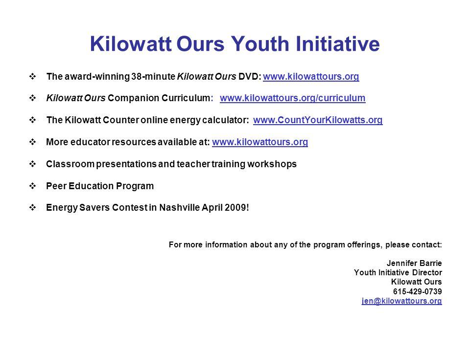 Kilowatt Ours Youth Initiative The award-winning 38-minute Kilowatt Ours DVD: www.kilowattours.org Kilowatt Ours Companion Curriculum: www.kilowattour
