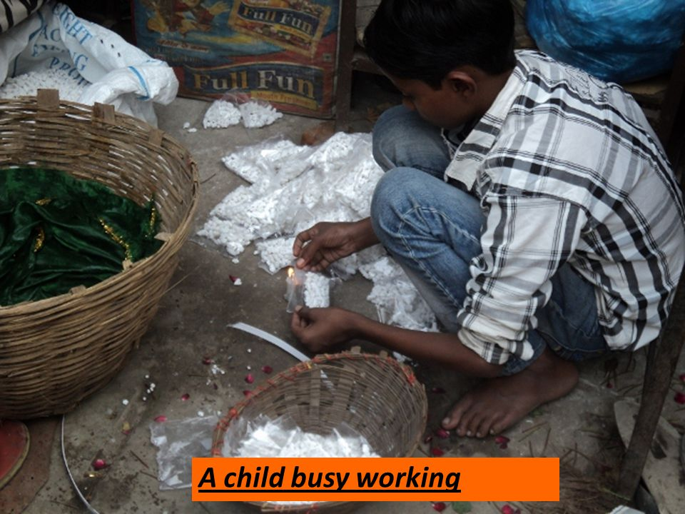 A child busy working