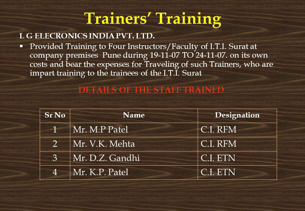 Trainers Training L G ELECRONICS INDIA PVT. LTD. Provided Training to Four Instructors/Faculty of I.T.I. Surat at company premises Pune during 19-11-0