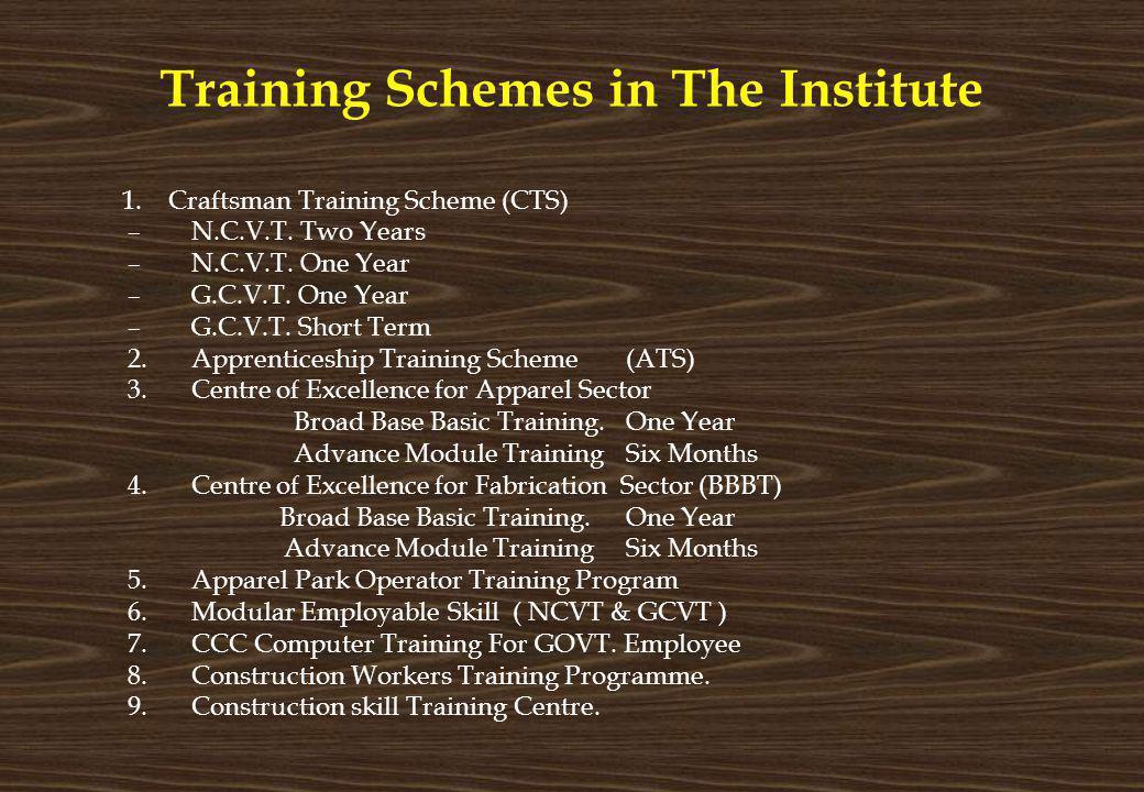 Training Schemes in The Institute 1. Craftsman Training Scheme (CTS) –N.C.V.T. Two Years –N.C.V.T. One Year –G.C.V.T. One Year –G.C.V.T. Short Term 2.