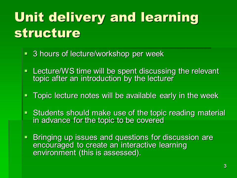 3 Unit delivery and learning structure 3 hours of lecture/workshop per week 3 hours of lecture/workshop per week Lecture/WS time will be spent discussing the relevant topic after an introduction by the lecturer Lecture/WS time will be spent discussing the relevant topic after an introduction by the lecturer Topic lecture notes will be available early in the week Topic lecture notes will be available early in the week Students should make use of the topic reading material in advance for the topic to be covered Students should make use of the topic reading material in advance for the topic to be covered Bringing up issues and questions for discussion are encouraged to create an interactive learning environment (this is assessed).