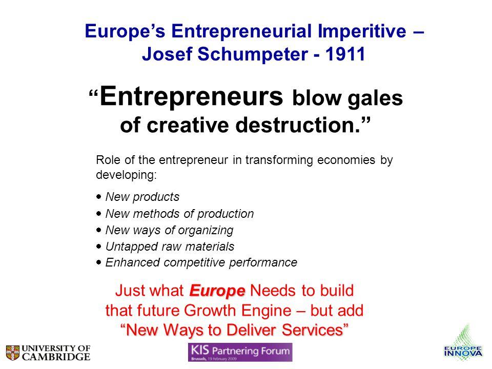 Europes Entrepreneurial Imperitive – Josef Schumpeter - 1911 Entrepreneurs blow gales of creative destruction. Role of the entrepreneur in transformin