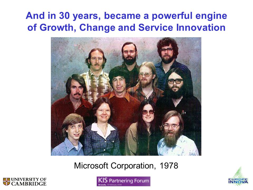 And in 30 years, became a powerful engine of Growth, Change and Service Innovation Microsoft Corporation, 1978