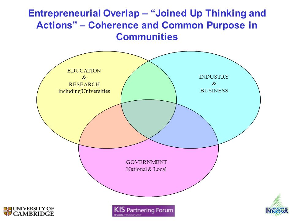 Entrepreneurial Overlap – Joined Up Thinking and Actions – Coherence and Common Purpose in Communities EDUCATION & RESEARCH including Universities INDUSTRY & BUSINESS GOVERNMENT National & Local