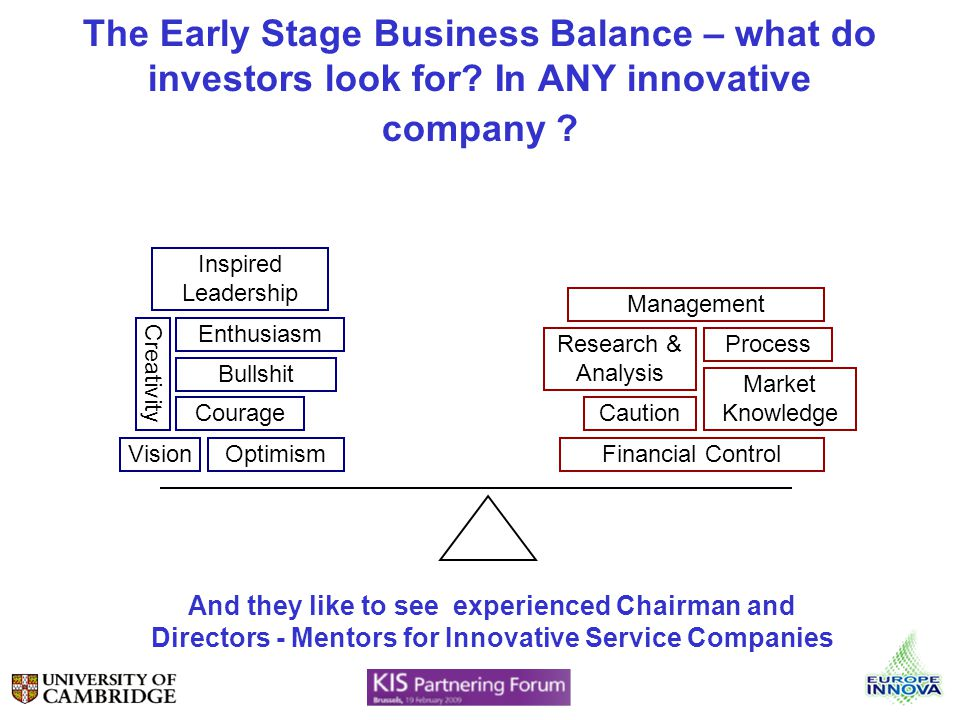 The Early Stage Business Balance – what do investors look for.