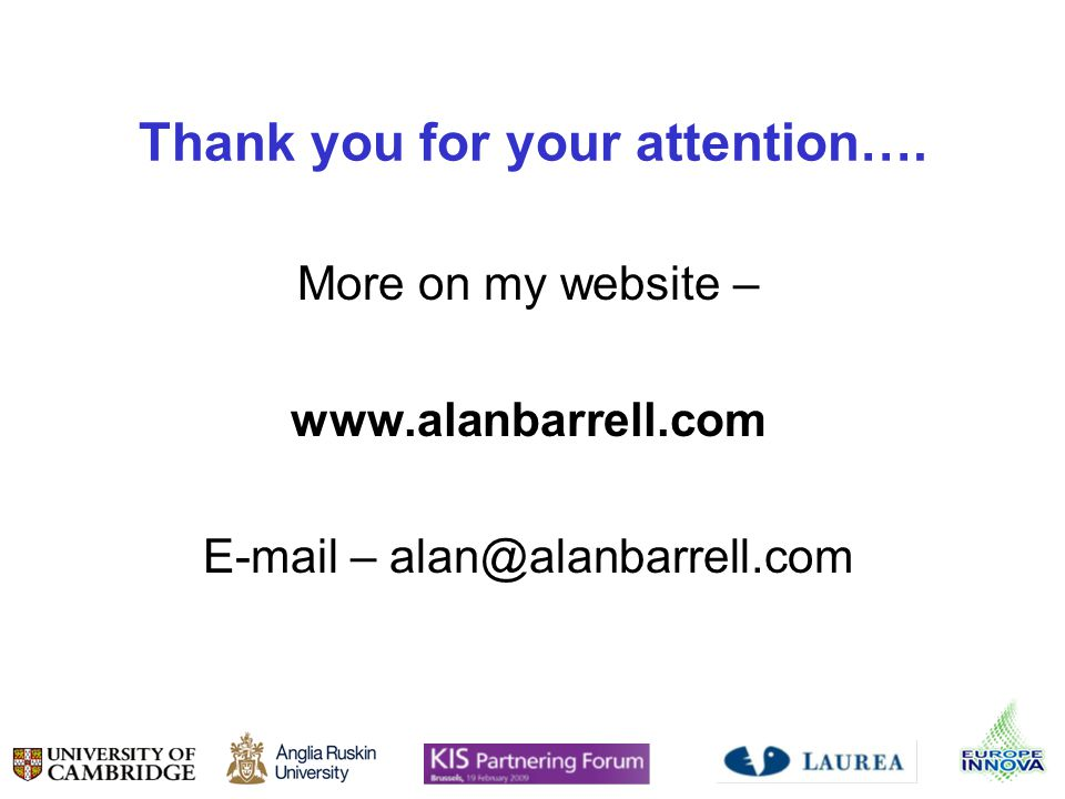 Thank you for your attention…. More on my website – www.alanbarrell.com E-mail – alan@alanbarrell.com