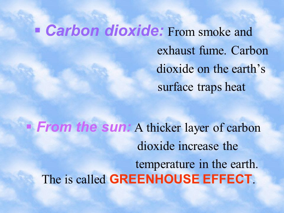 Pollution effect sources Sulphur dioxide, 1.Cause irritation 1.Vehicles nitrogen dioxide to lung and 2.Power eyes and station environment 3.Marine problems vessels 2.Dissolve in rain, make acid rain