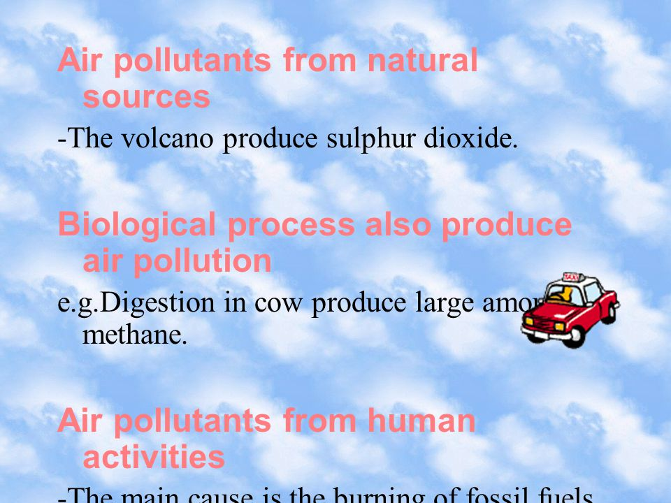 Air pollution is caused by emissions of particulate matter and harmful gases.the most common air pollutants are: Suspended particulates Sulphur dioxide (SO 2 ) Nitrogen dioxide (NO 2 ) Carbon monoxide (CO) Ozone Lead (Pb) hydrocarbons