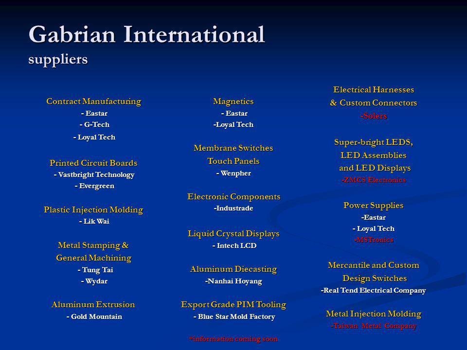 Gabrian International suppliers Contract Manufacturing - Eastar - Eastar - G-Tech - G-Tech - Loyal Tech - Loyal Tech Printed Circuit Boards - Vastbrig