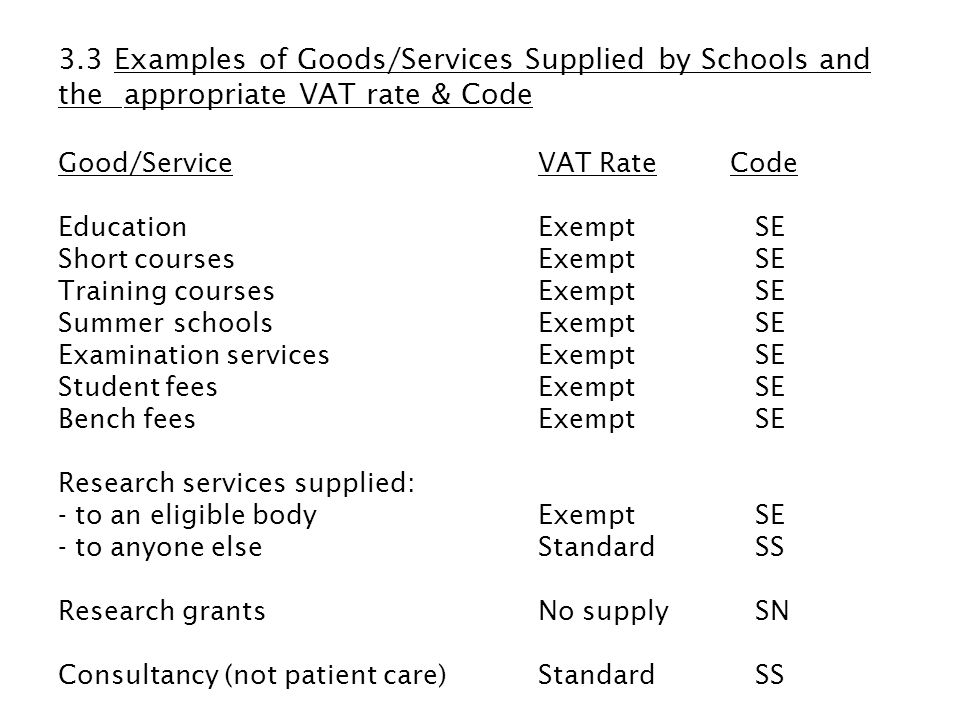 3.3 Examples of Goods/Services Supplied by Schools and the appropriate VAT rate & Code Good/ServiceVAT RateCode EducationExempt SE Short coursesExempt