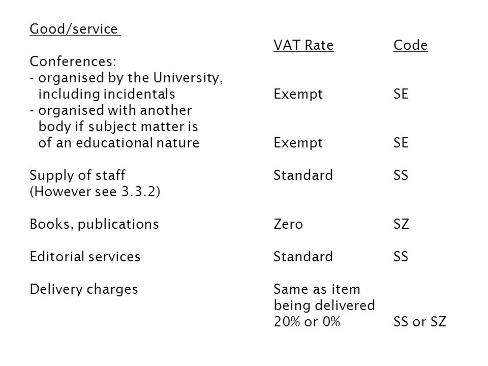 Good/service VAT RateCode Conferences: - organised by the University, including incidentalsExemptSE - organised with another body if subject matter is