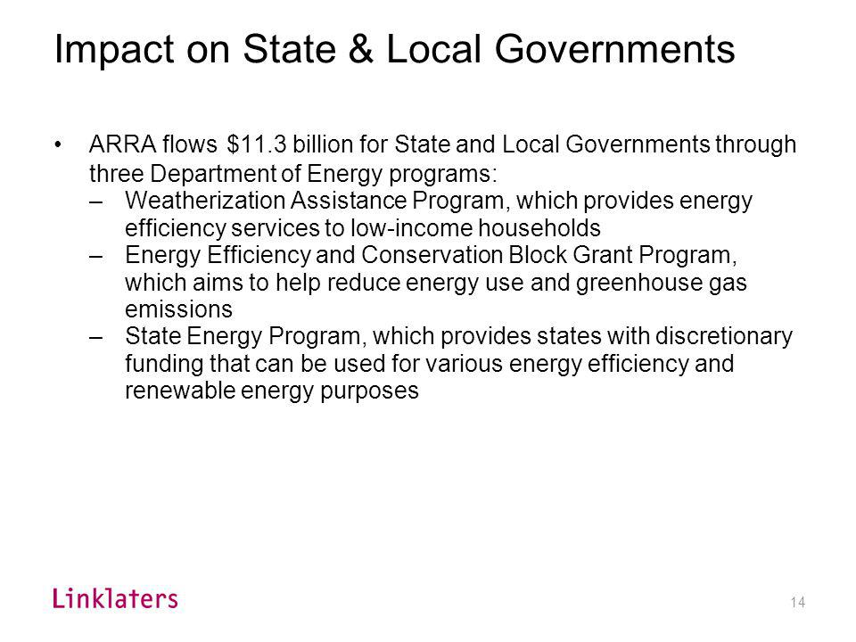 14 Impact on State & Local Governments ARRA flows $11.3 billion for State and Local Governments through three Department of Energy programs: –Weatheri