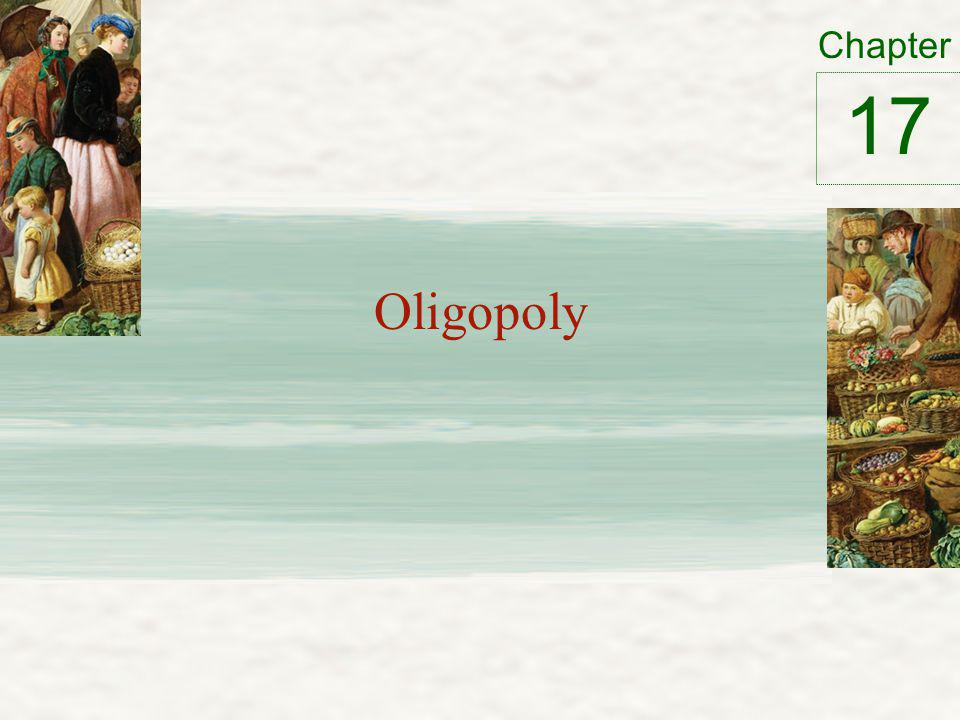 Oligopoly – Only a few sellers – Offer similar or identical products – Interdependent Game theory – How people behave in strategic situations Choose among alternative courses of action Must consider how others might respond to the action he takes 2
