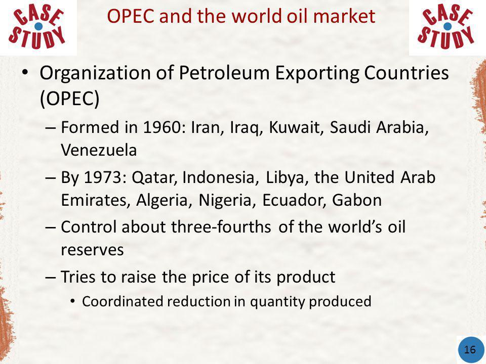 Organization of Petroleum Exporting Countries (OPEC) – Formed in 1960: Iran, Iraq, Kuwait, Saudi Arabia, Venezuela – By 1973: Qatar, Indonesia, Libya,