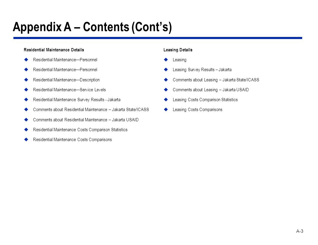 A-3 Appendix A – Contents (Conts) Residential Maintenance Details Residential MaintenancePersonnel Residential MaintenanceDescription Residential Main